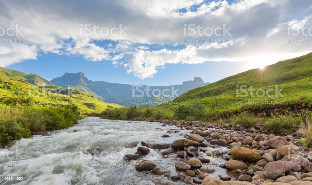 Sunset in the Tugela valley stock photo
