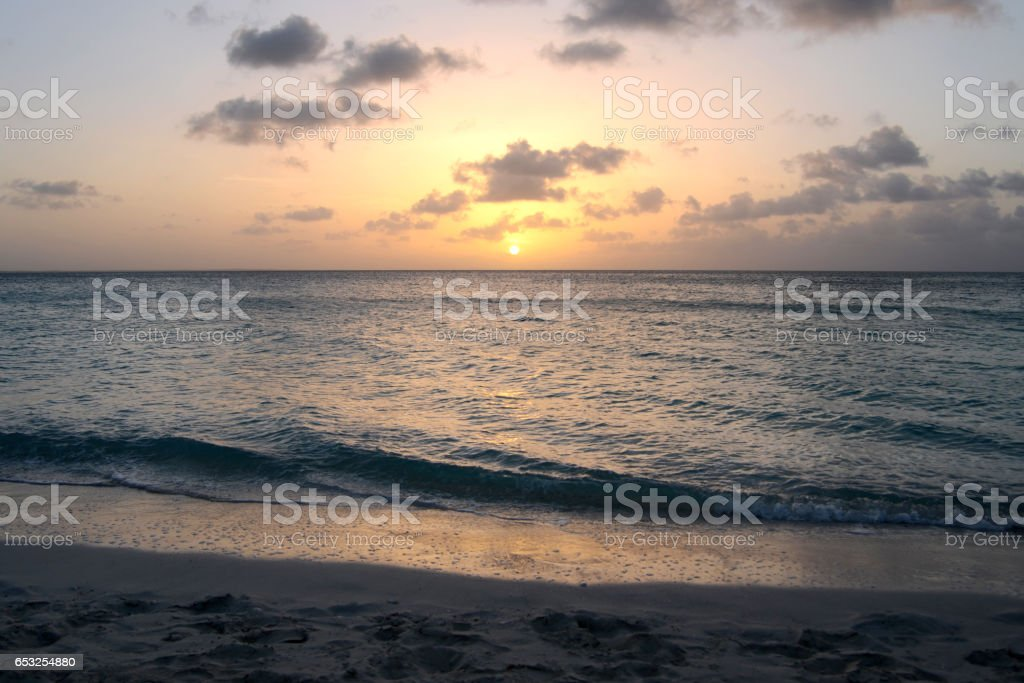 Sunset in the Turks and Caicos Islands stock photo