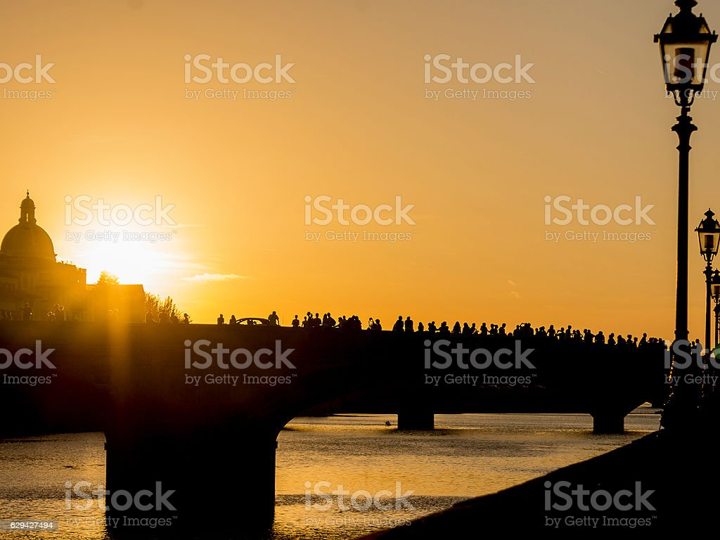 Sunset in the tuscany river stock photo