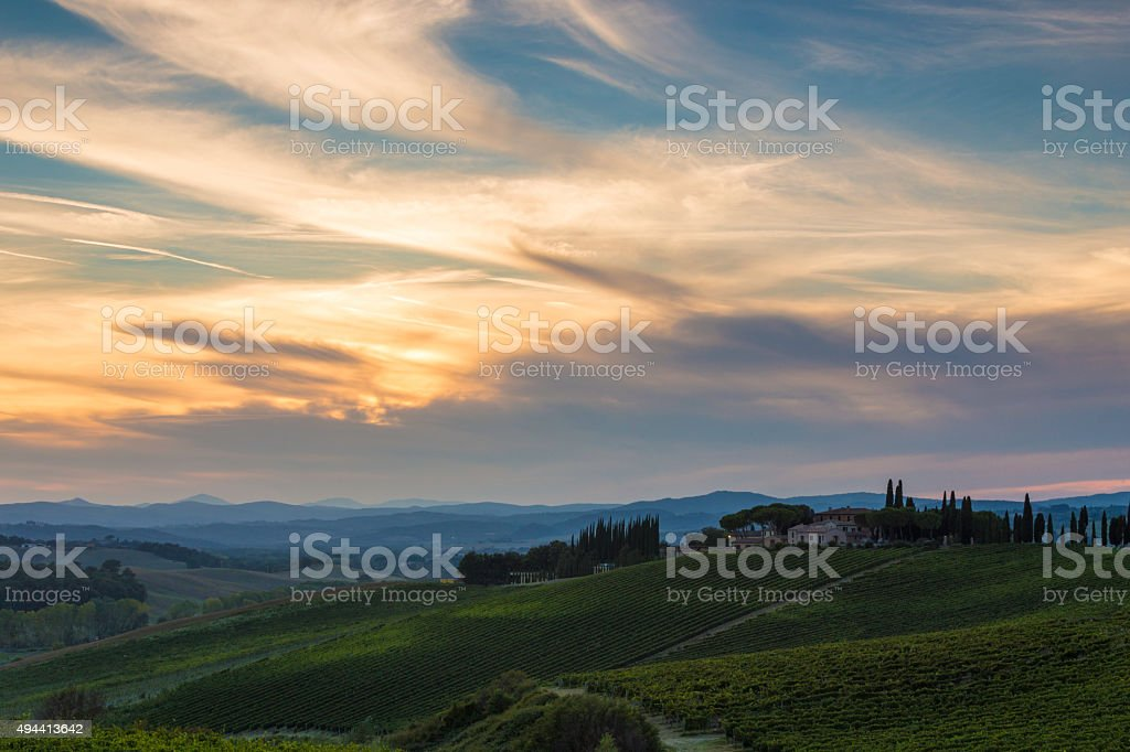 Sunset in the Val d'Orcia stock photo