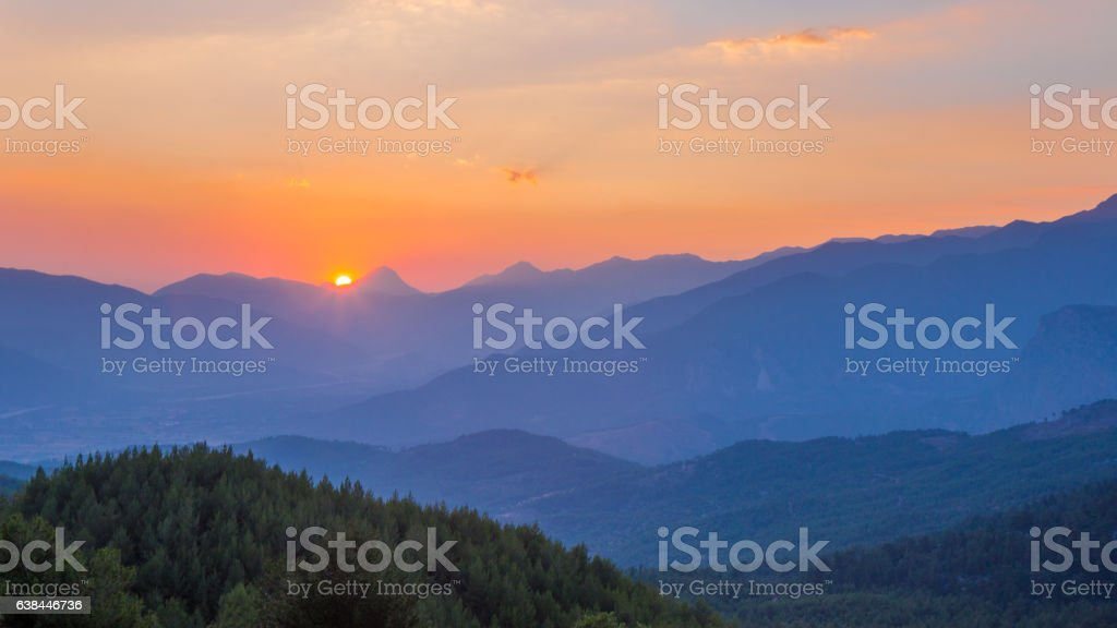 Sunset in the valley stock photo