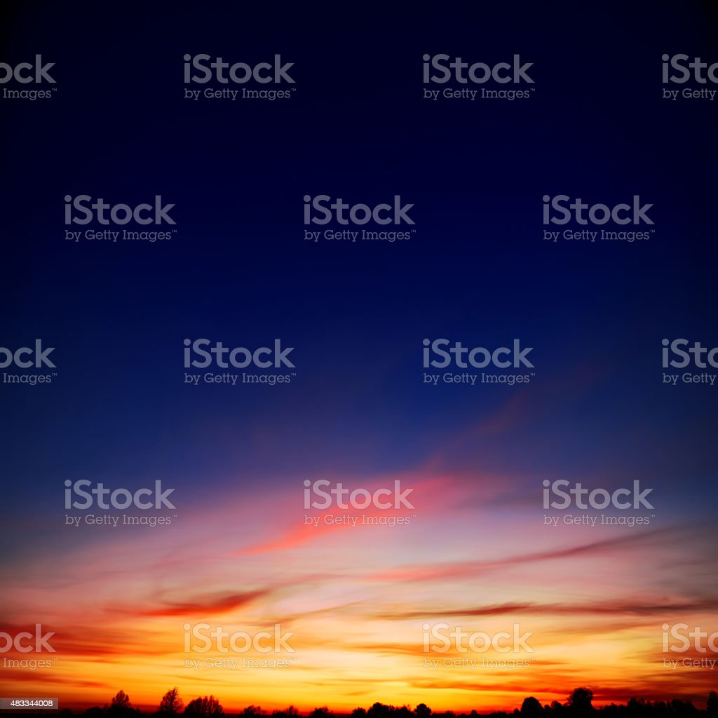 sunset in the village, in red colors stock photo
