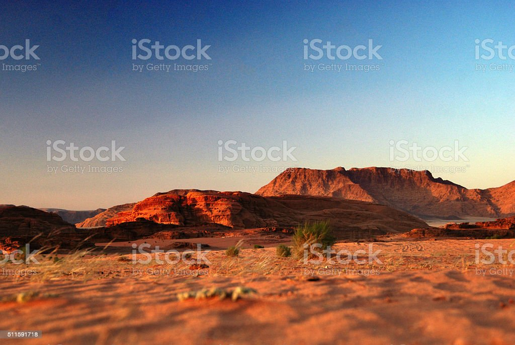 Sunset in the Wadi Rum desert, Jordan stock photo