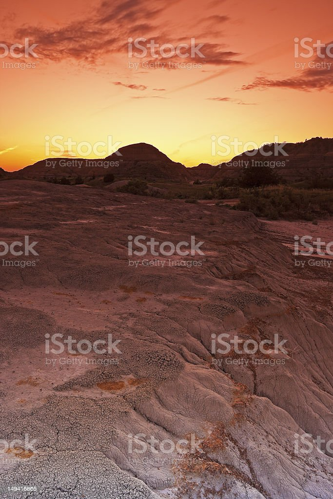 Sunset in  Theodore Roosevelt National Park royalty-free stock photo