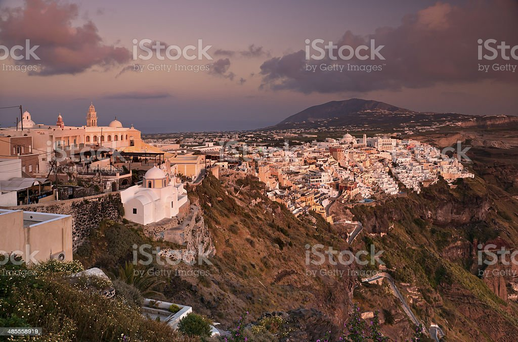 Sunset in Thira of Santorini island stock photo
