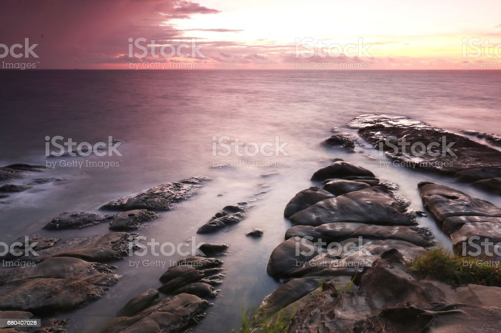 Sunset in Tip Of Borneo, Kudat Sabah stock photo