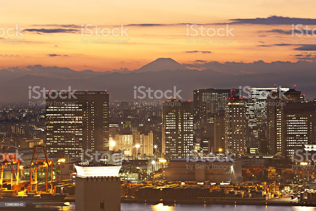 Sunset in Tokyo royalty-free stock photo
