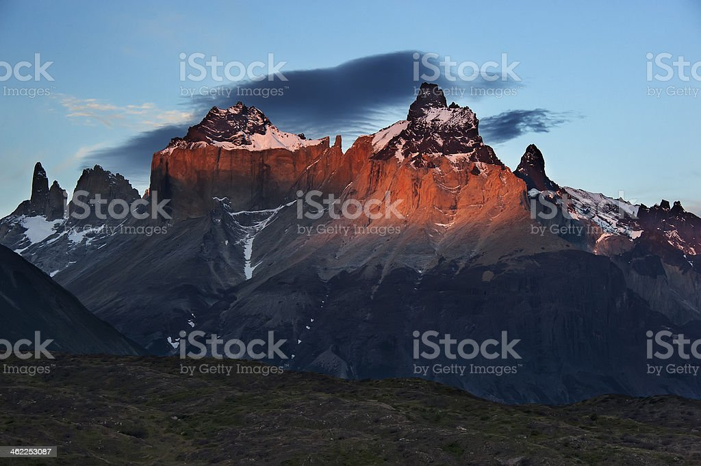 Sunset in Torres del Paine royalty-free stock photo