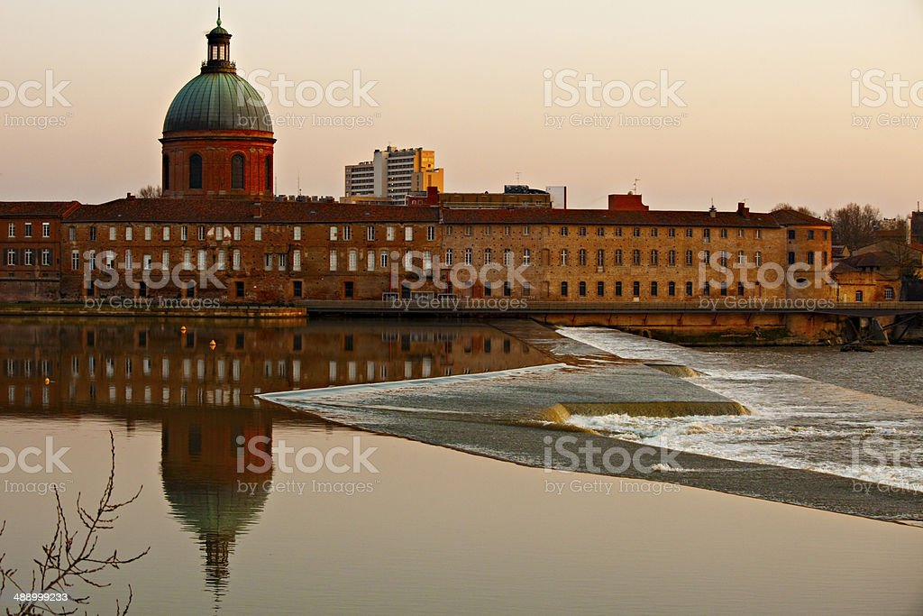 Sunset in Toulouse stock photo
