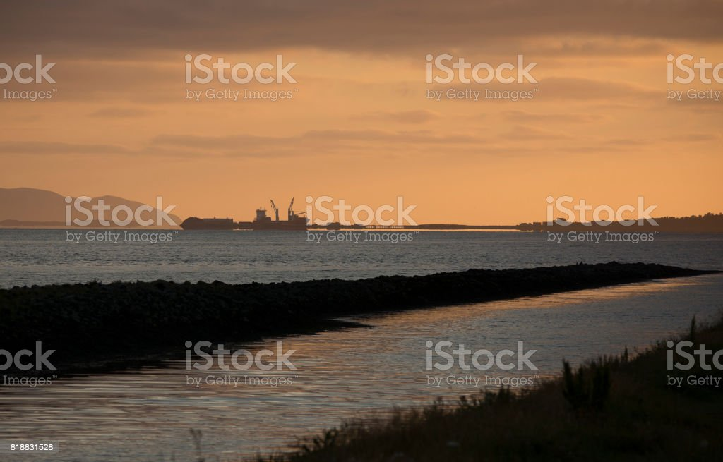 Sunset in Tralee bay stock photo