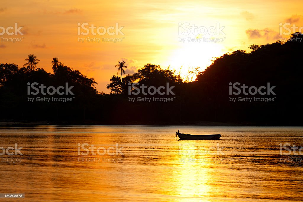 Sunset in tropical paradise royalty-free stock photo
