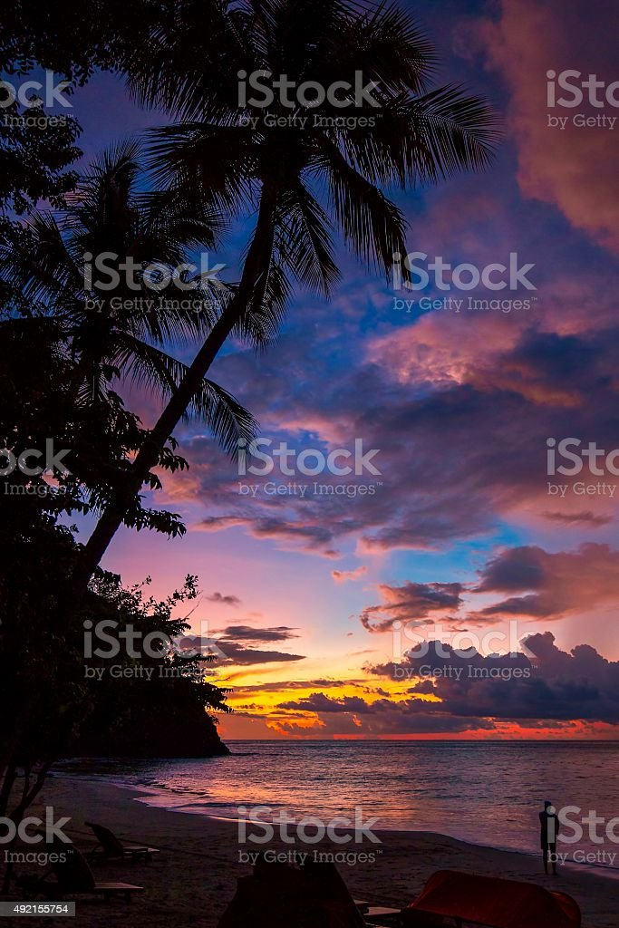 Sunset in tropical paradise stock photo