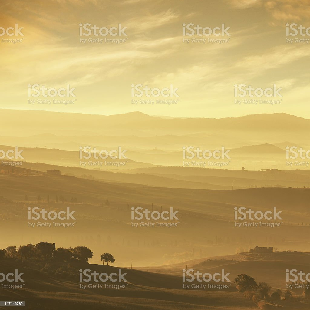 Sunset in Tuscany royalty-free stock photo
