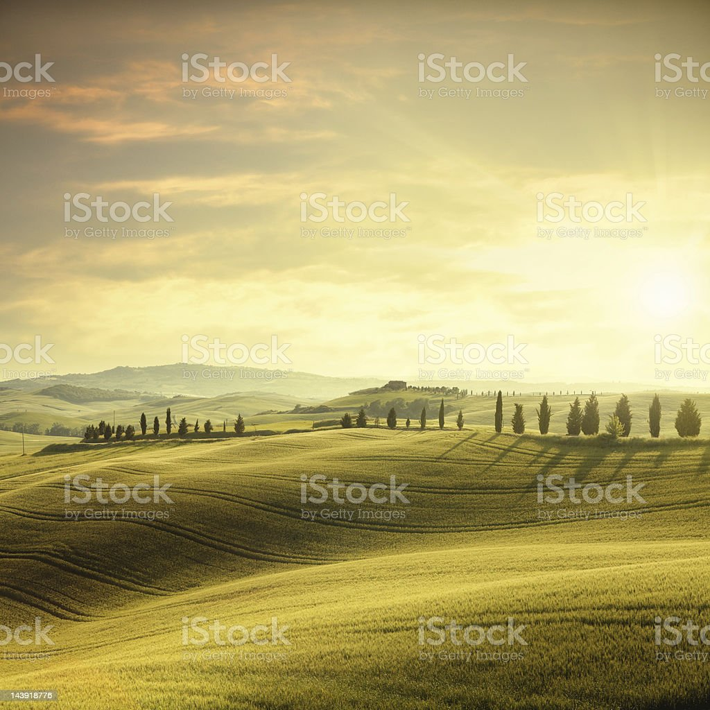 Sunset in Tuscany stock photo