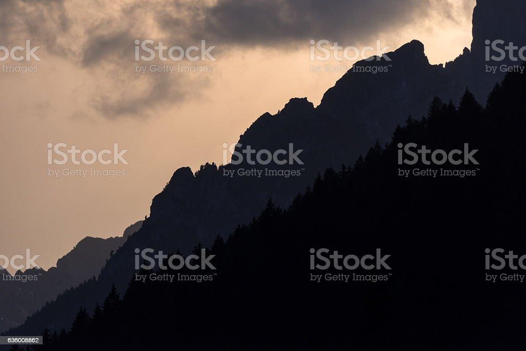 Sunset in Val di Fassa (Trentino Alto Adige) stock photo