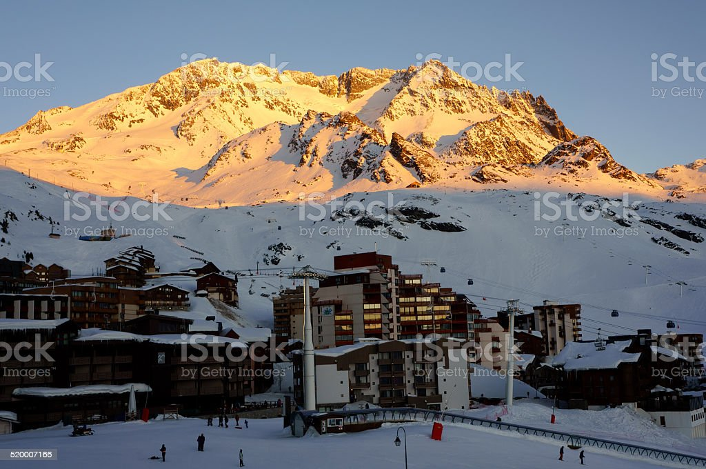 Sunset in Val Thorens, France stock photo
