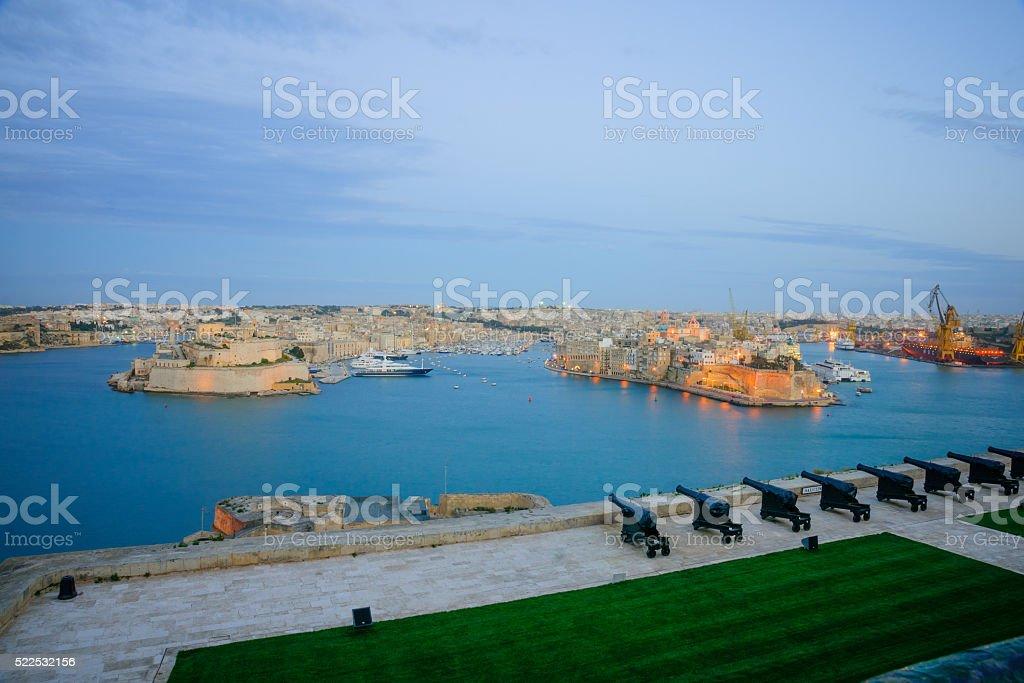 Sunset in Valletta stock photo
