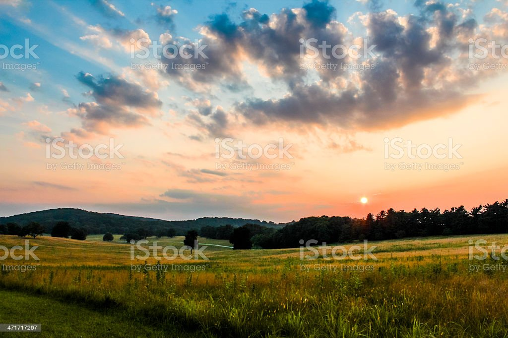 sunset in valley forge stock photo