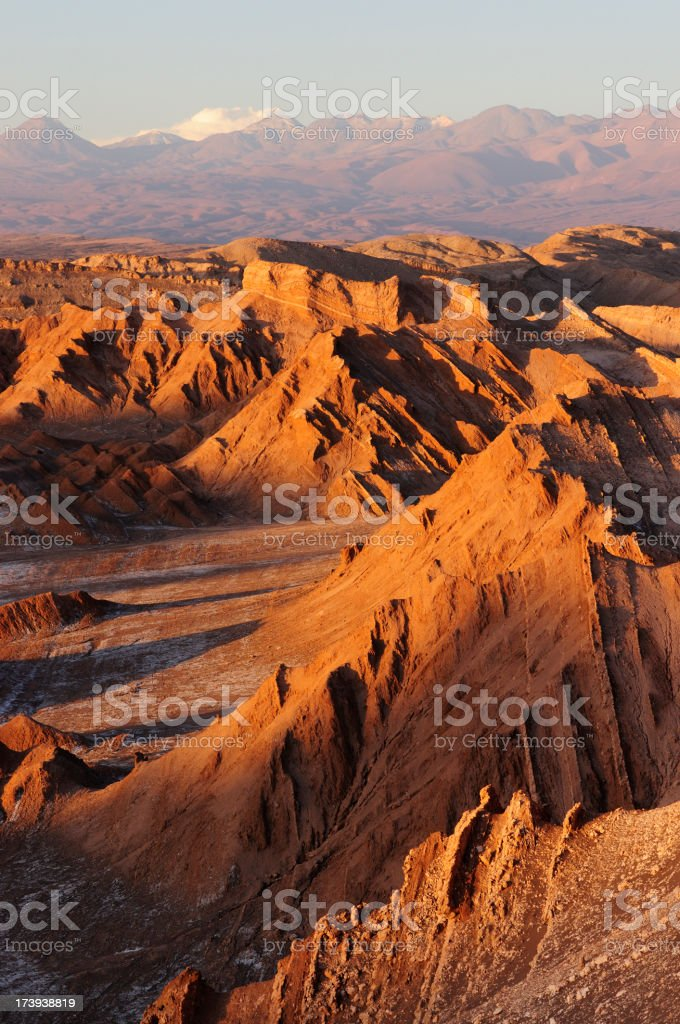 Sunset in valley of the moon in the Atacama desert stock photo