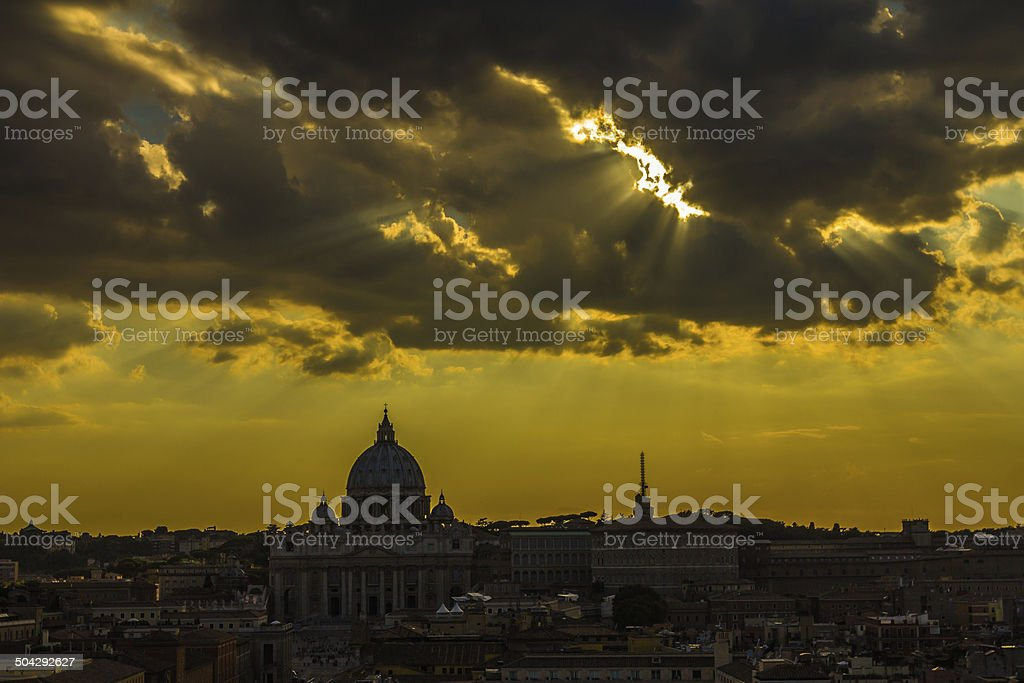 Sunset in Vatican City stock photo