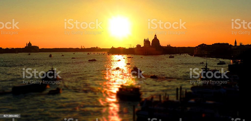 Sunset in Venice, Canale di San Marco stock photo