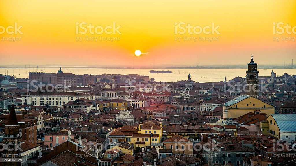 Sunset in Venice seen from St Mark's Campanile stock photo