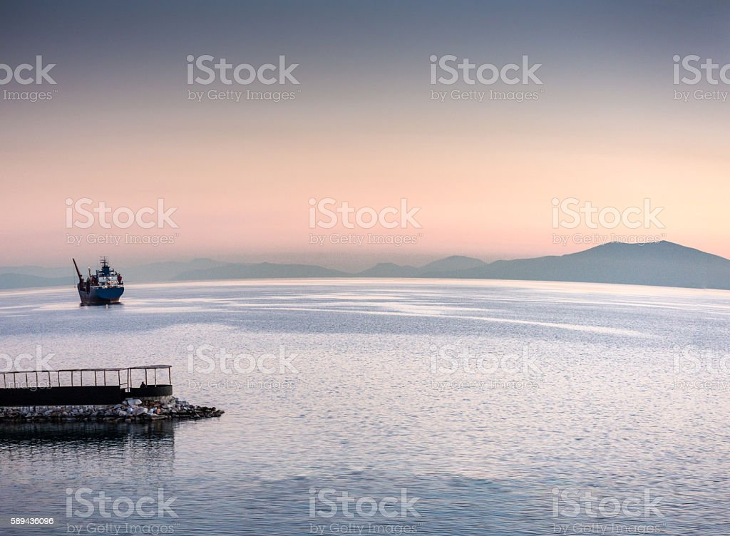 Sunset in Volos Greece stock photo
