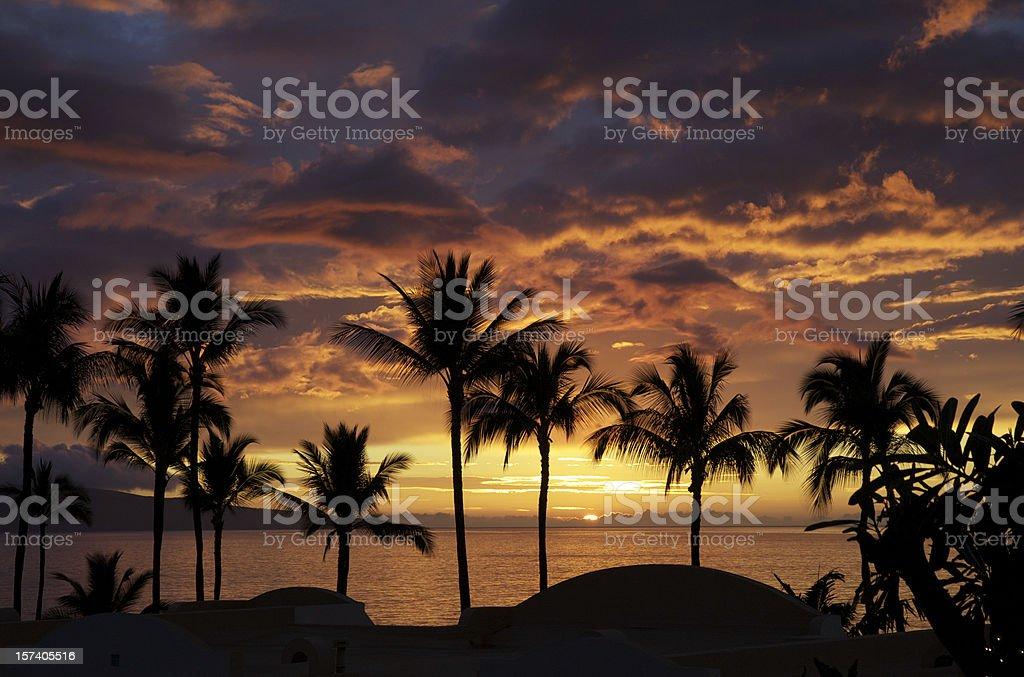 Sunset in Wailea stock photo