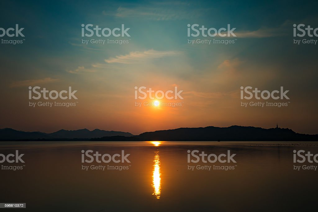 Sunset in WestLake stock photo