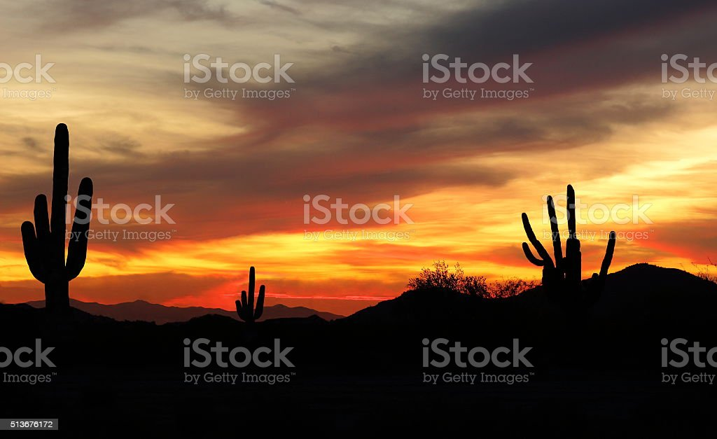 Sunset in Wild West Desert stock photo