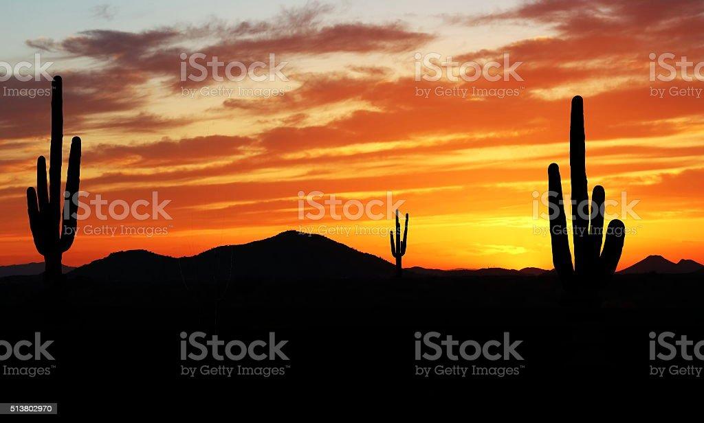 Sunset in Wild West stock photo