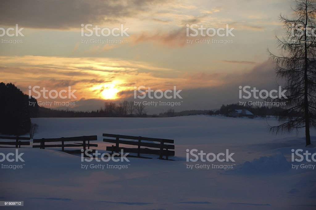 Sunset in Winter Landscape stock photo
