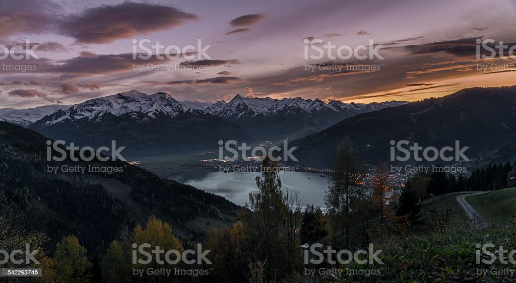 Sunset in Zell am See stock photo