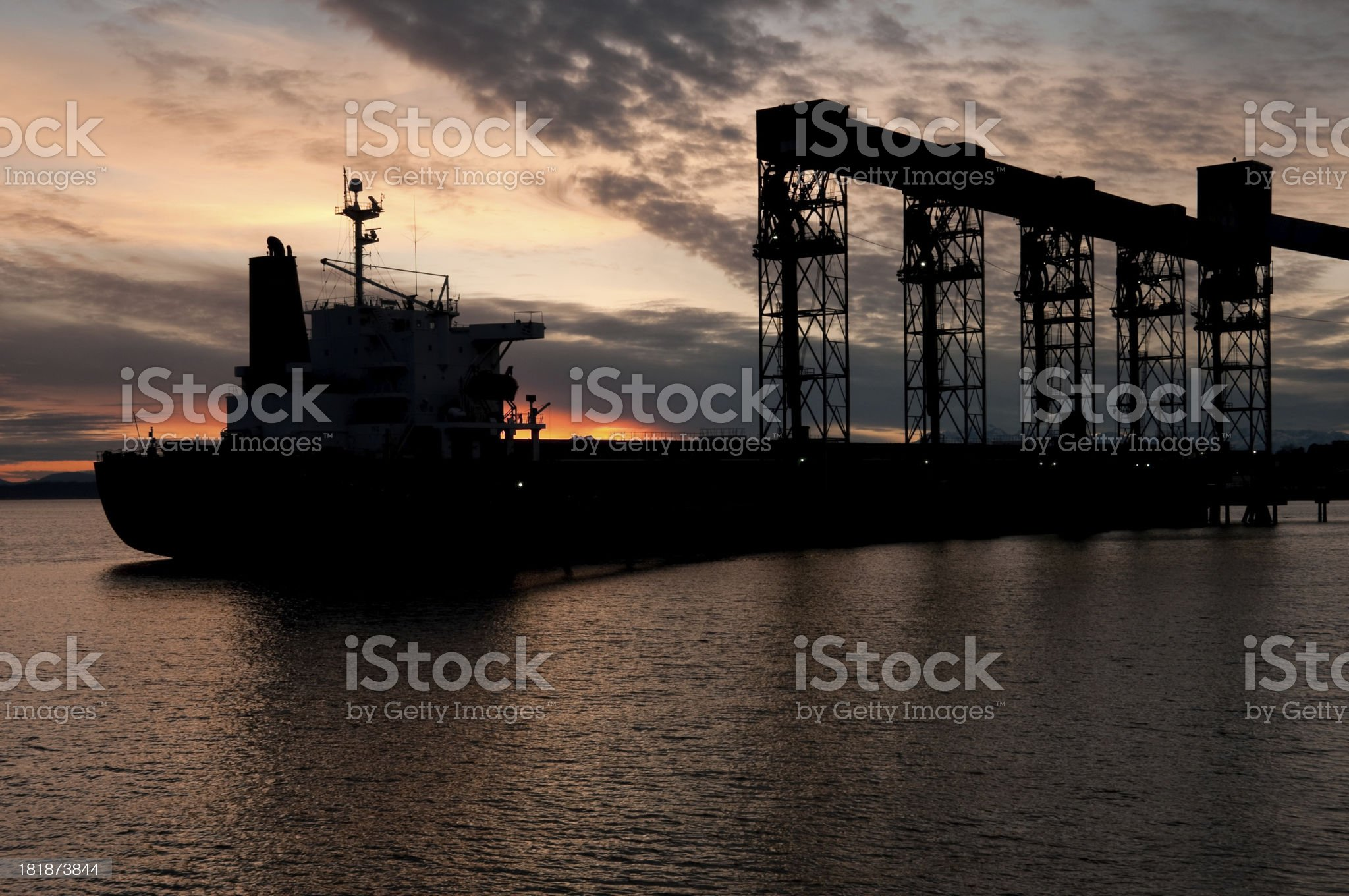 Sunset Industrial Tanker royalty-free stock photo
