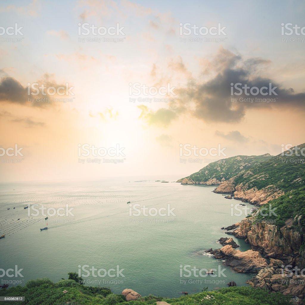 Sunset Island Landscape stock photo