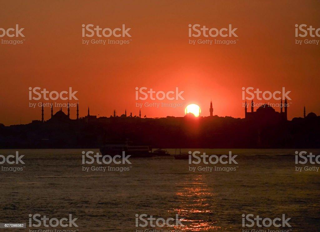 Sunset istanbul stock photo