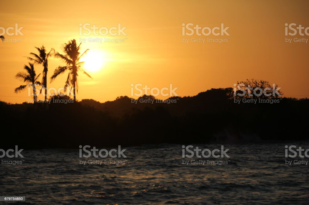 Sunset Jambiani Beach, Zanzibar, Indian Ocean, Africa stock photo