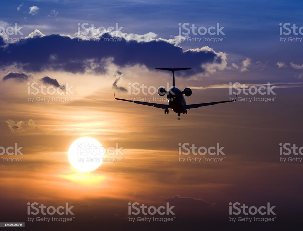 Sunset Jet 2 stock photo