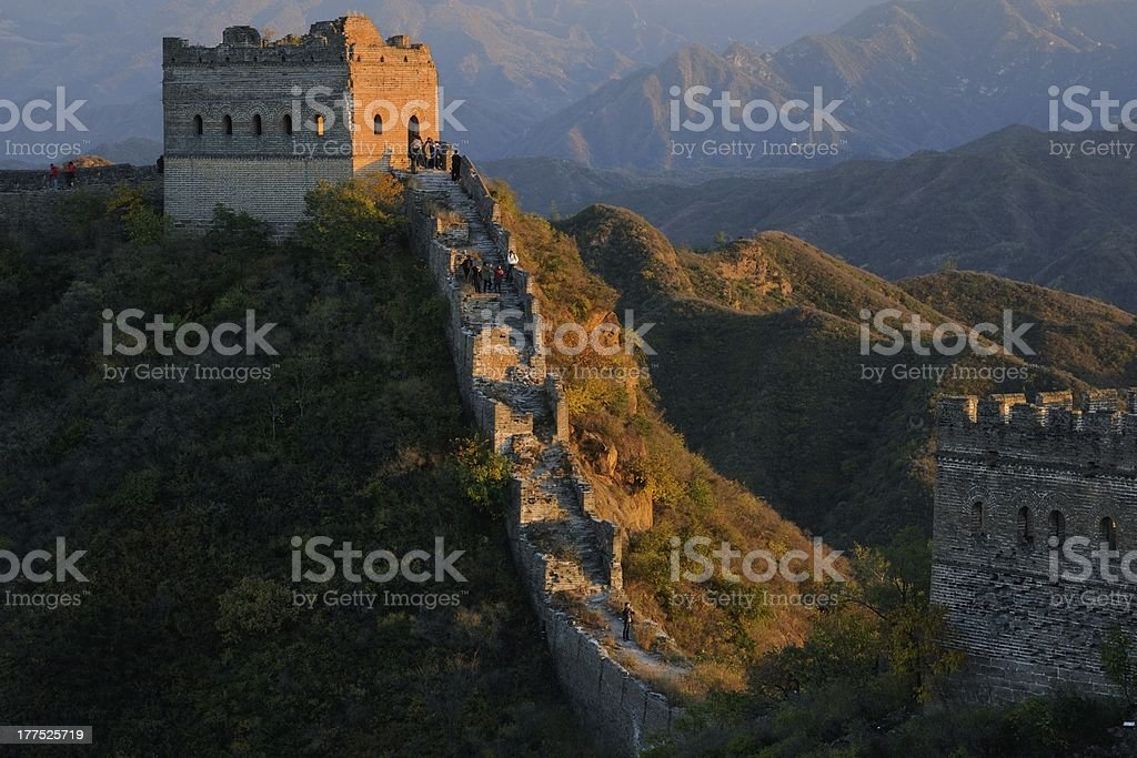 Sunset Jinshanling Great Wall, Beijing, China royalty-free stock photo