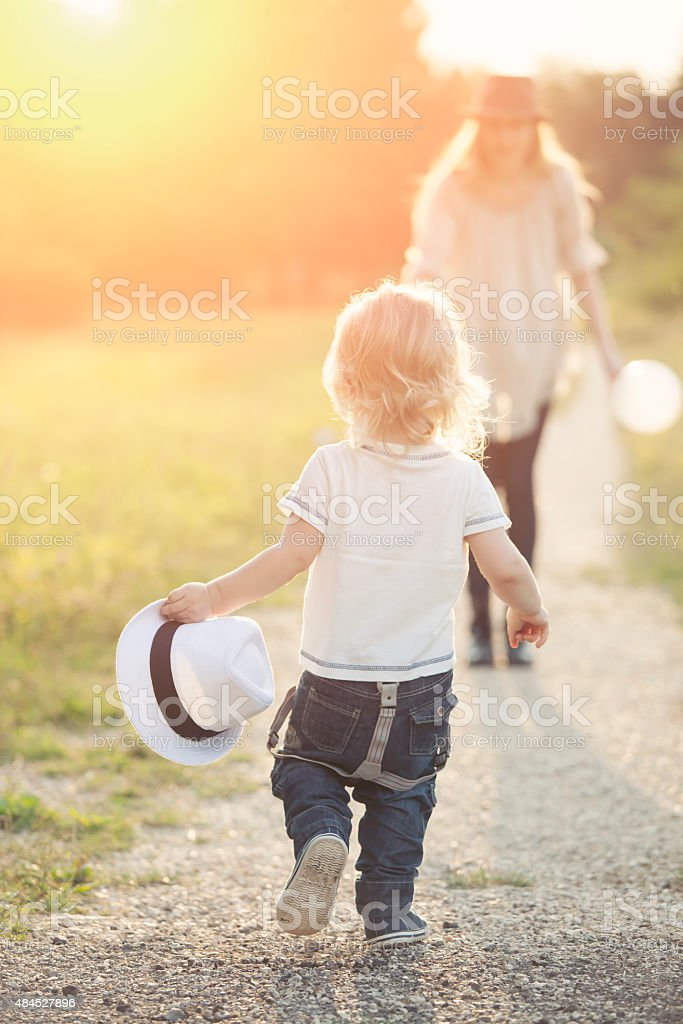 Sunset joy stock photo