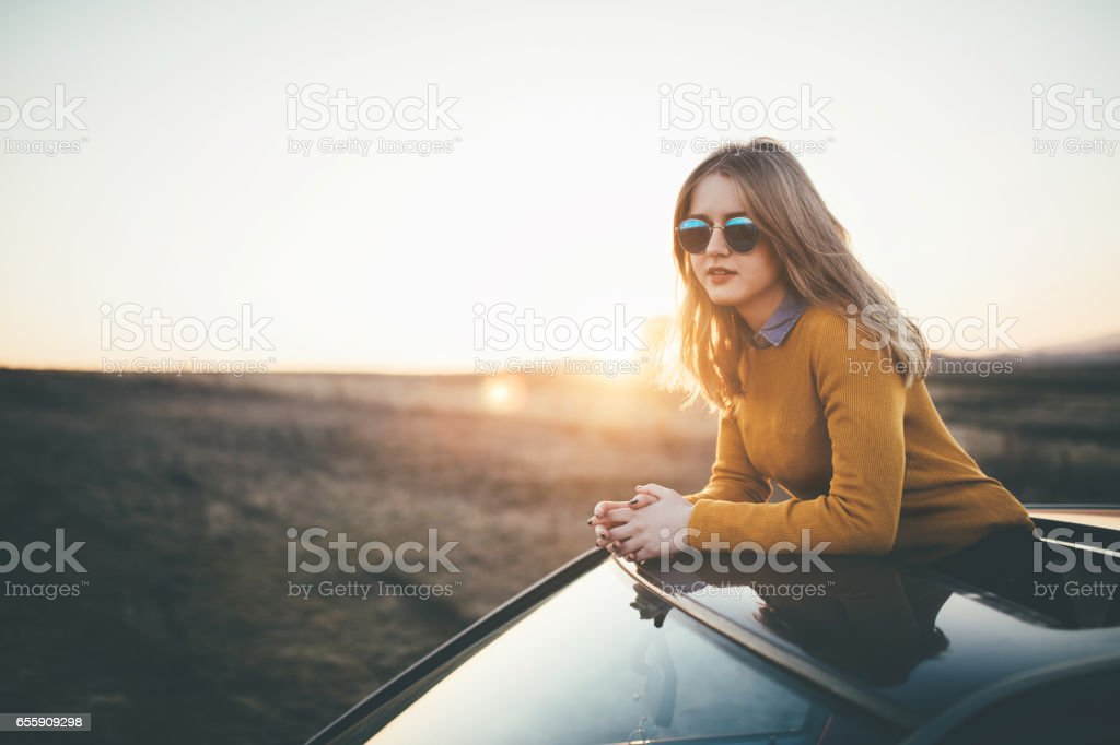 Sunset joy stock photo