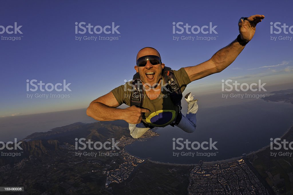 Sunset Jump Above the Bay of Rosas stock photo