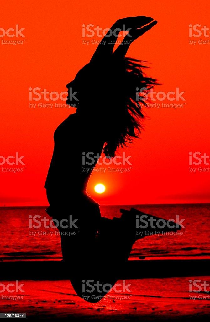 Sunset jump royalty-free stock photo