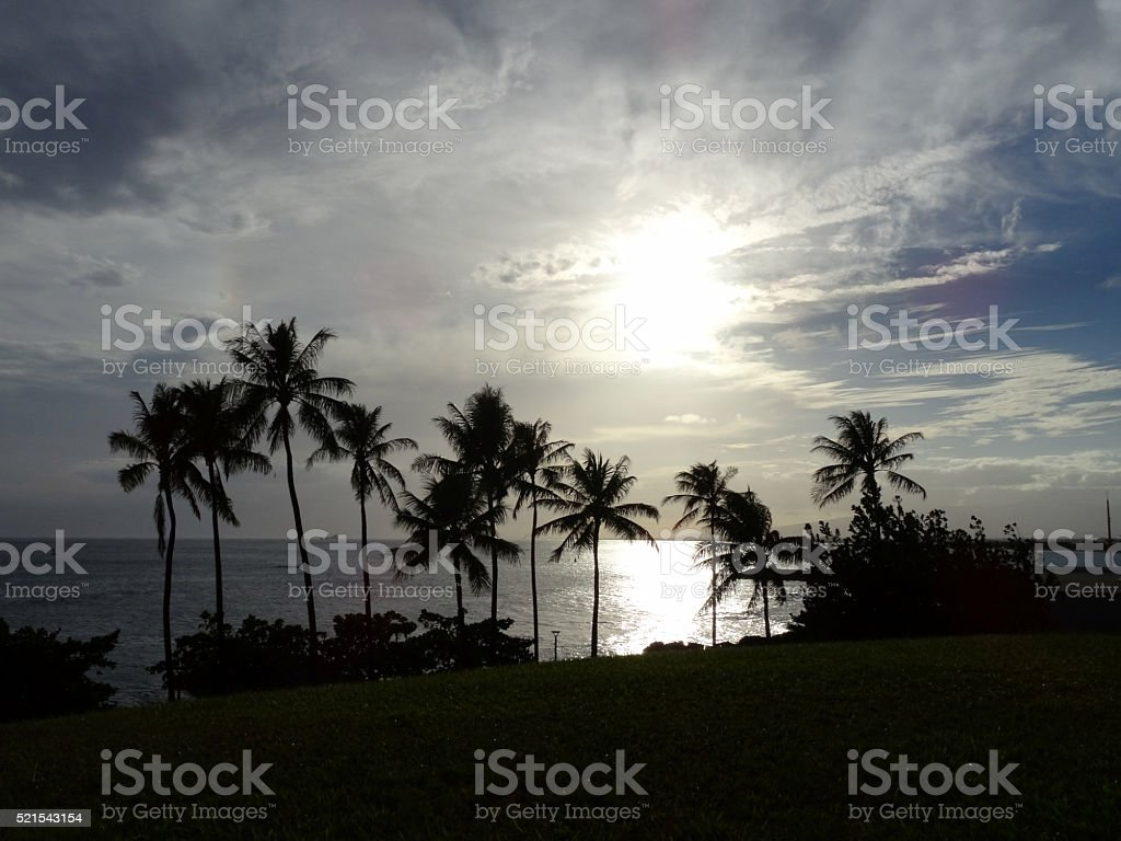 Sunset Kakaako park over the Ocean stock photo