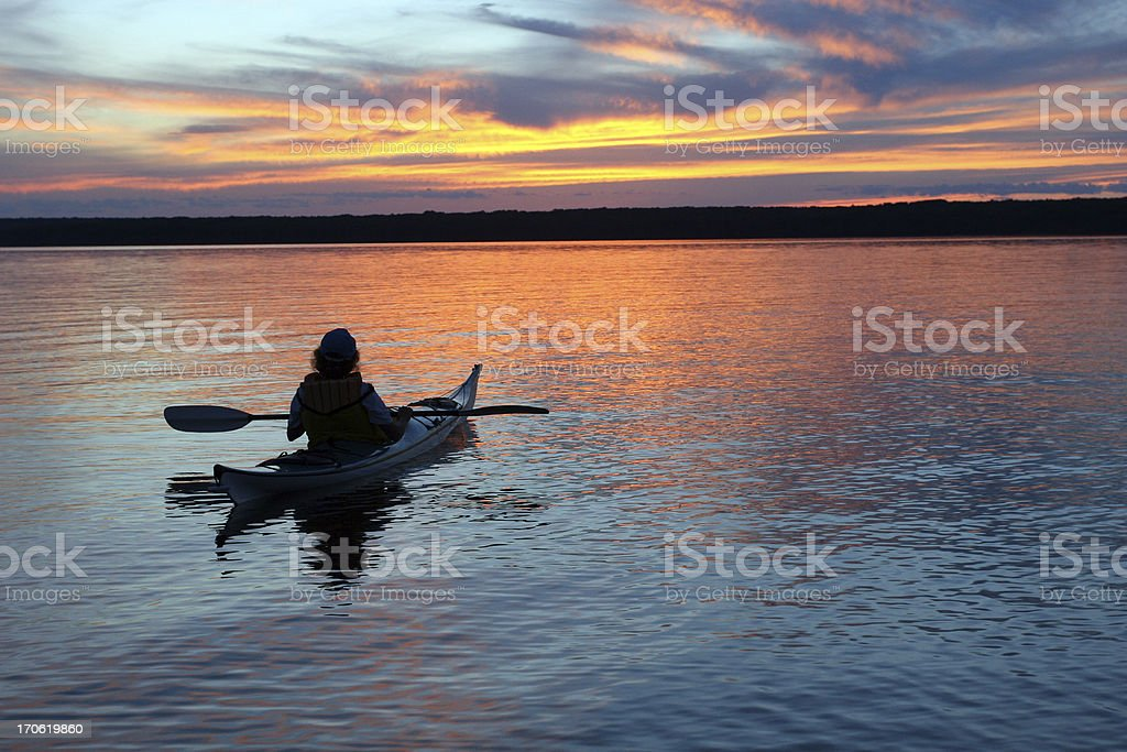 Sunset Kayaker stock photo