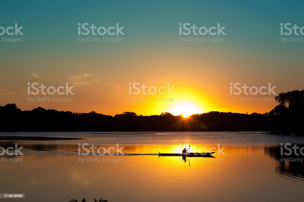 Sunset Kayaking in Lake of the Isles, Minneapolis, Minnesota stock photo