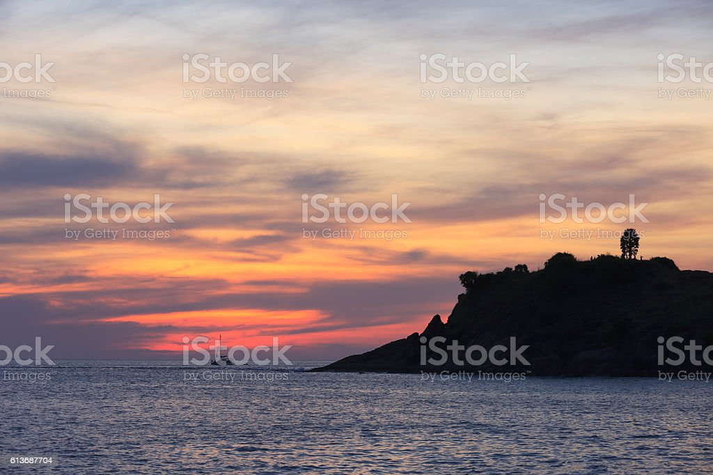 Sunset laempromthep Cape phuket. Thailand stock photo