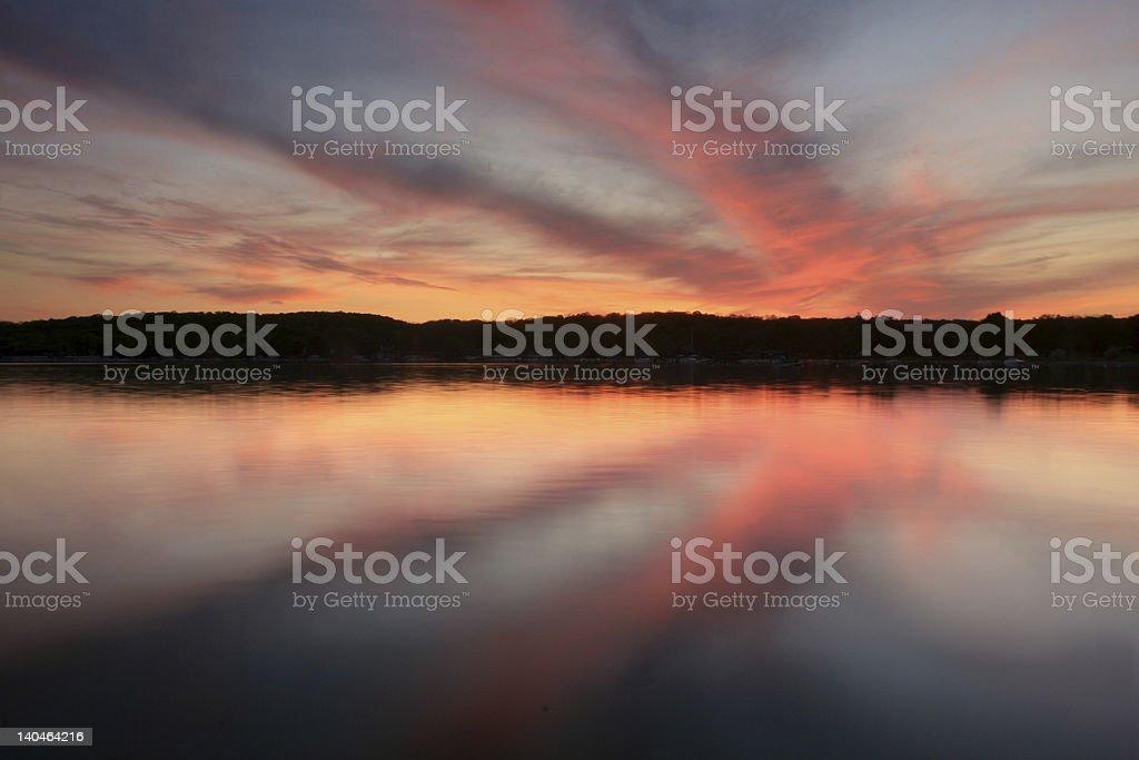 Sunset, Lake Geneva Wisconsin stock photo