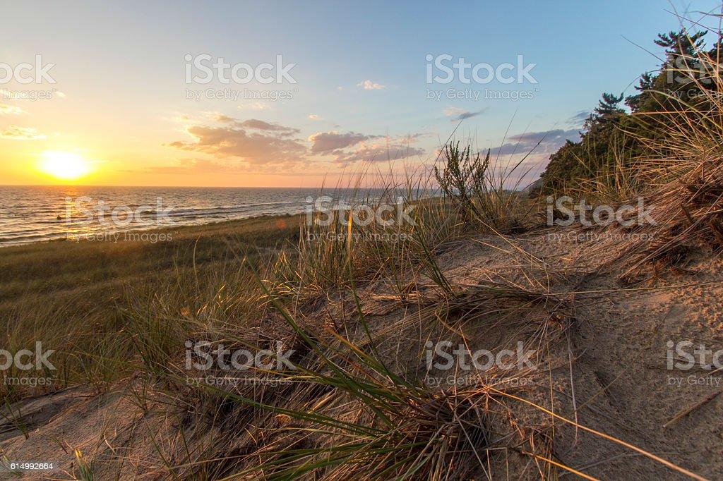 Sunset Lake Horizon And Sand Dunes stock photo