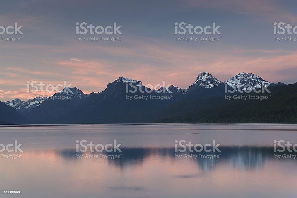 Sunset, Lake McDonald stock photo
